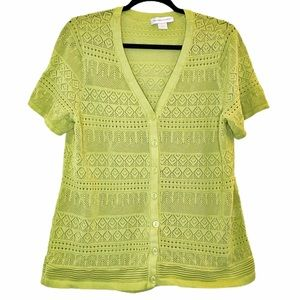 Christopher & Banks Cardigan Lime Green XL